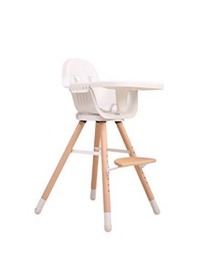Rotatable Wooden Baby High Chair with Adjustable Tray