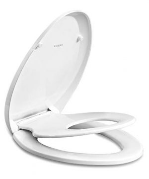 Elongated Toilet Seat with Built in Potty Training Seat