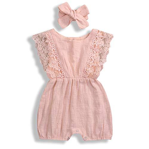 Baby Girls Lace Romper Set Ruffle Sleeve