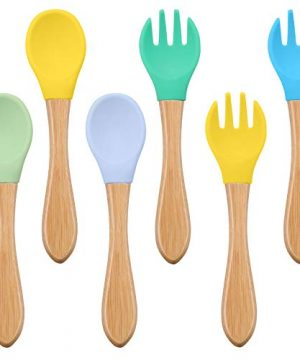 6 Pieces Baby Spoon Fork Set Bamboo Wooden