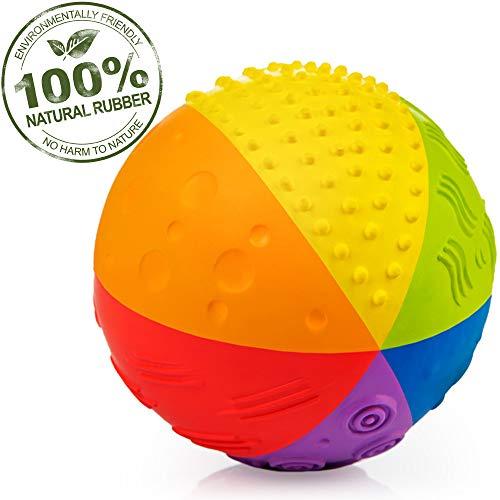 "Pure Natural Rubber Sensory Ball Rainbow 4"""