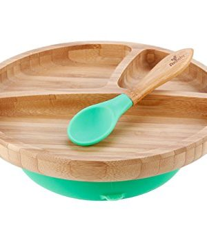 Avanchy Bamboo Suction Toddler Plate , Spoon