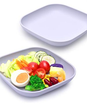 BABELIO BPA Free Toddler Plates, 2 Pack Food Grade Soft Silicone