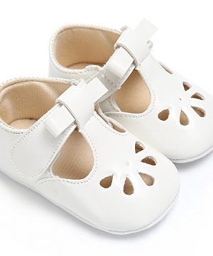 BENHERO Baby Girls Mary Jane Flats with Bowknot Non-Slip Toddler First Walkers Princess Dress Shoes (6-12 Months Infant, 1560 Cream)