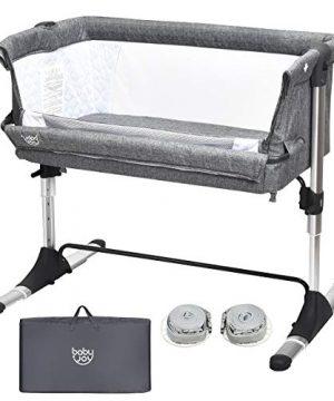 BABY JOY Baby Bedside Crib, Portable Travel Sleeper