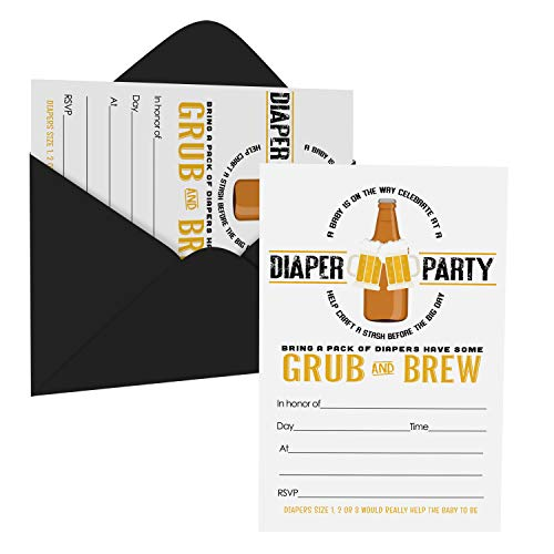 Daddy Diaper Shower Invitations (15 Guests) Baby Brewing Pamper Party