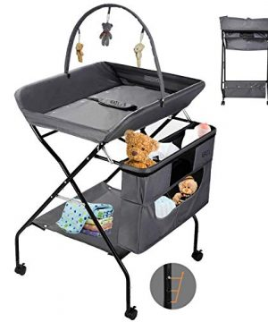 Baby Changing Table with Wheels, Grey Adjustable Height
