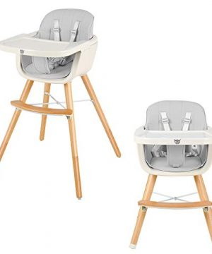 BABY JOY Convertible Baby High Chair, 3 in 1 Wooden Highchair