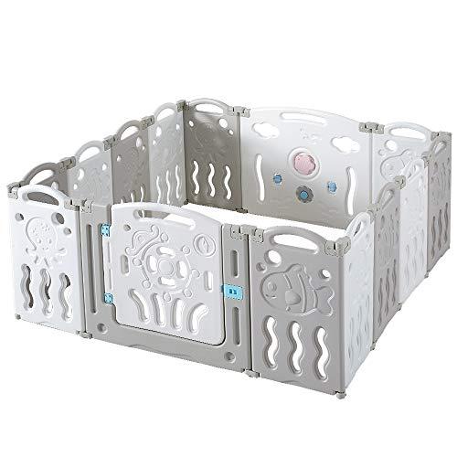 Albott Baby Playpen 14 Panels Foldable Kids Safety Play Yard