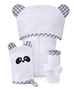 Organic Hooded Towel Washcloth Bath Gloves Set