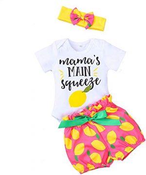 3PCS Newborn Baby Girl Clothes Ruffle Romper Bodysuit