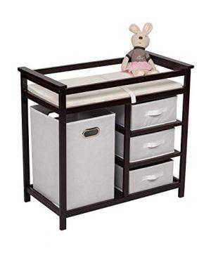 Baby Changing Table w/Organizer, Brown - Large Storage