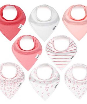 Baby Bandana Drool Bibs for Girls, 8 Pack Bib Set