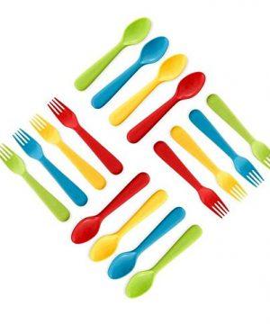 Plaskidy Plastic Toddler Utensils Set 8 Kids Forks and 8 Kids Spoons