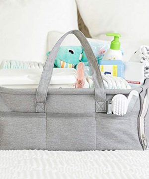 Baby Diaper Caddy Organizer, Large Grey Portable Diaper Holder