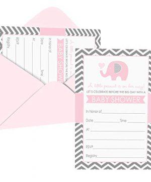 Baby Shower Invitations Pink Elephant