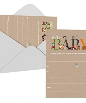 Woodland Baby Shower Invitations with Envelopes (25 Pack)