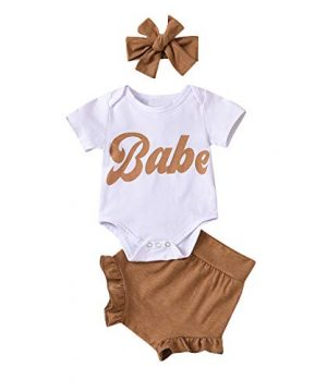 3Pcs Baby Girl Summer Clothes Letter Printed Outfits Shorts Set