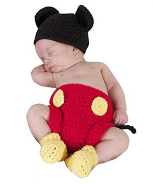 Baby Costume Cute Crochet Diaper Shoes Mouse Red