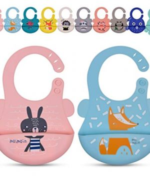 2 Pack Silicone Bibs for Baby Boy Girl, Toddler Bibs