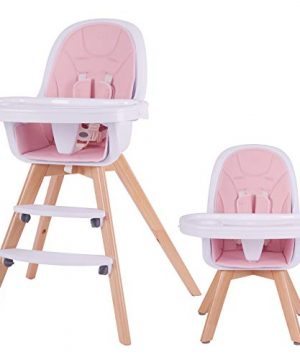 3-in-1 Wooden High Chair with Removable Double Tray