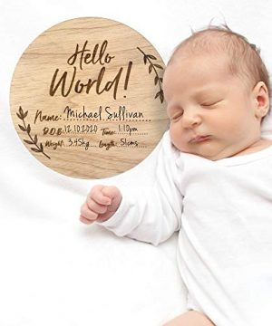 Baby Announcement Sign, Wood Hello World Name Plaque