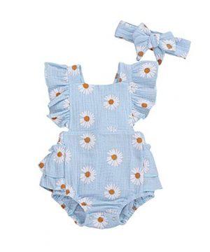 Baby Girls Daisy Playsuits Ruffled Bodysuit+Headband Print