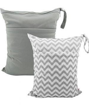 ALVABABY 2pcs Cloth Diaper Wet Dry Bags Waterproof Reusable