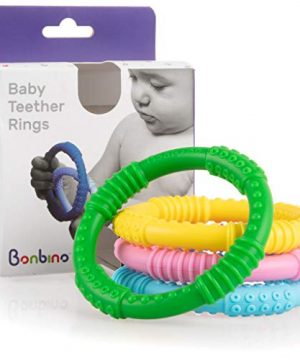 Soothes Baby Gum Pain with Silicone Sensory Teething Rings