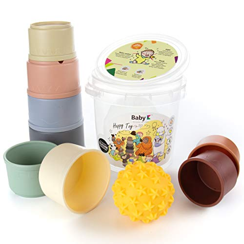 BABY K Stacking Cups Toy Set and Sensory Baby Ball Toy