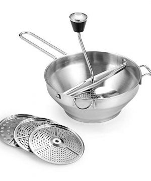 Rotary Food Mill Potato Ricer with 3 Interchangeable Disks