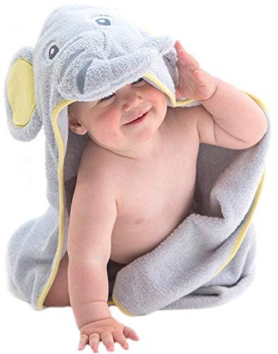 Hooded Baby Towel Gray Elephant by Little Tinkers
