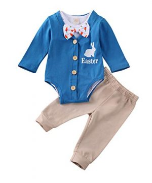 Infant Baby Boys Easter Clothes Set Button Long Sleeve