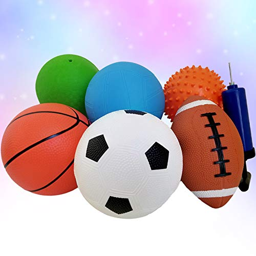 """Pack of 6 Sports Balls with 1 Pump - 5"""" Soccer"""
