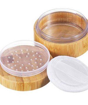 1Pk (30ml/1oz) Bamboo Empty Loose Powder Puff Case