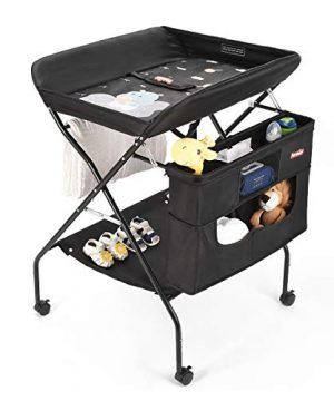 Mobile Baby Changing Table with Wheels, FORSTART Adjustable Height