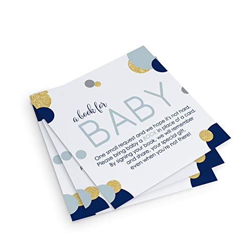 Navy and Gold Bring a Book for Baby Shower (25 Pack)