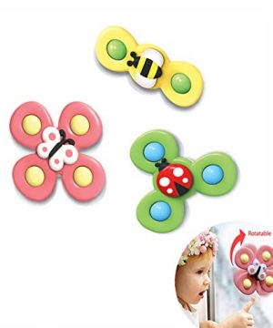 NUFR Suction Cup Spinning Top Toy, 3 PCS Baby Bath Spinner Toy