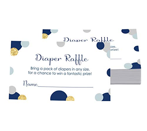 Abstract Navy and Gold Diaper Raffle Ticket (25 Cards)