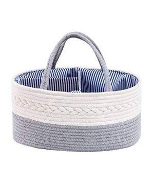 catalpa yao Baby Diaper Caddy Organizer 100% Cotton Rope