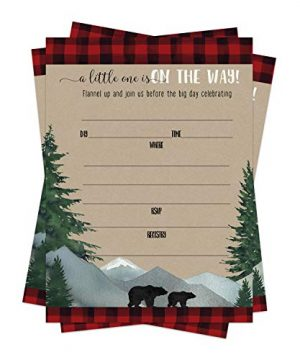 Lumberjack Baby Shower Invitations (15 Guests) Little Bear Party Supplies