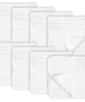 """8 Pack Muslin Burp Cloths Large 20"""" by 10"""" 100% Cotton"""