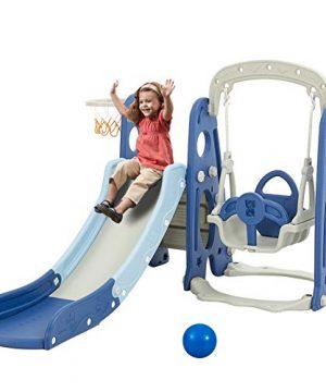 Albott Toddler Slide and Swing Set 4 in 1