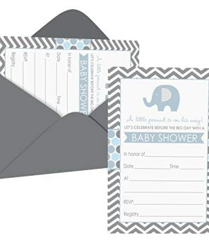 Blue Elephant Baby Shower Invitations (15 Guests) Boys