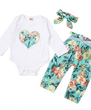 3pcs Clothing Set for Baby Girls Heart Printed