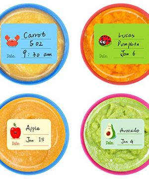 240 PCS Baby Food Labels Set in 2 Sizes and 45 Designs