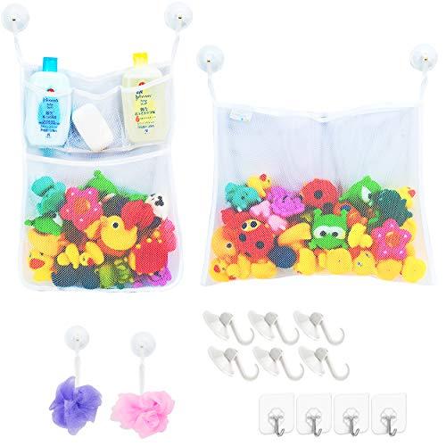 2 x Mesh Bath Toy Organizer + 6 Ultra Strong Hooks