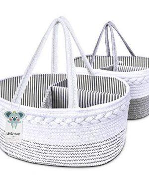 2 Packs Baby Diaper Caddy Organizer, 100% Cotton Rope Nursery