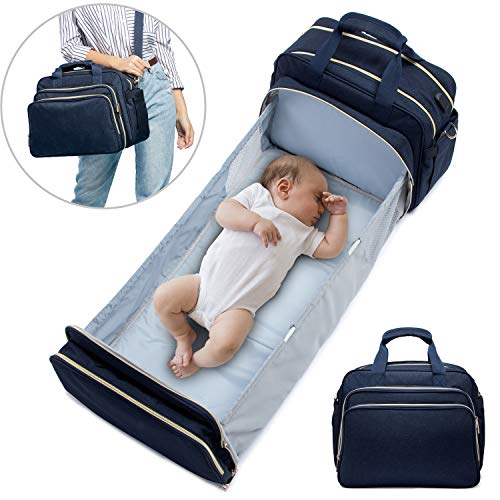 Baby Diaper Bag Backpack with Auto Folding Crib
