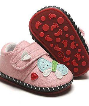 HsdsBebe Baby Boys Girls Pu Leather Hard Bottom Walking Sneakers